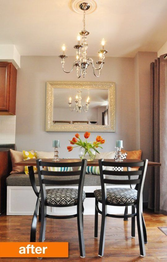 Before & After: An Outdated Dining Area Gets a Fresh Makeover.  ::Would work so well in a small apartment too! Love!!::