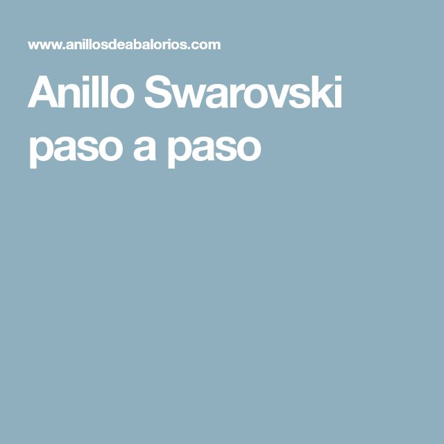 Anillo Swarovski paso a paso