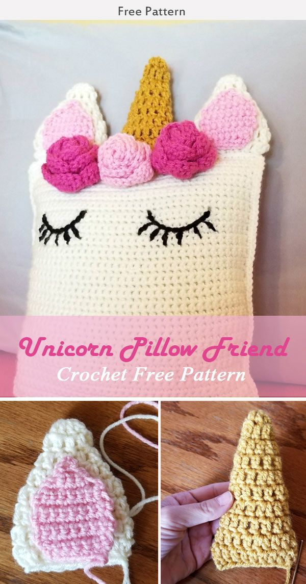 Unicorn Pillow Friend Crochet Pattern #freecrochetpatterns #pillows #toy
