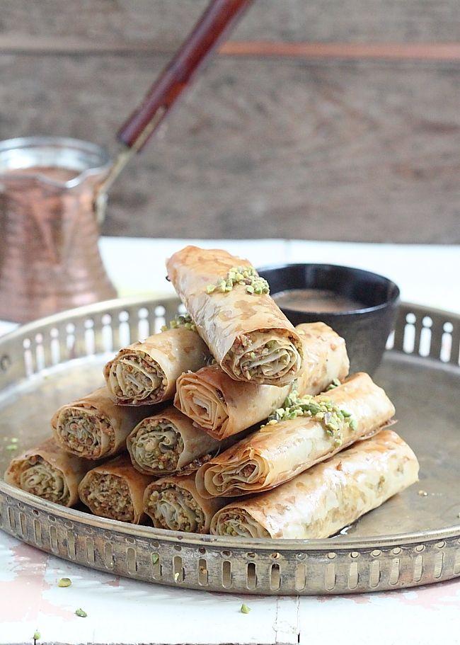 Pistachio Cigars - Baklava Roll-Ups Délices d'Orient and Eastern sweetness Mignardise