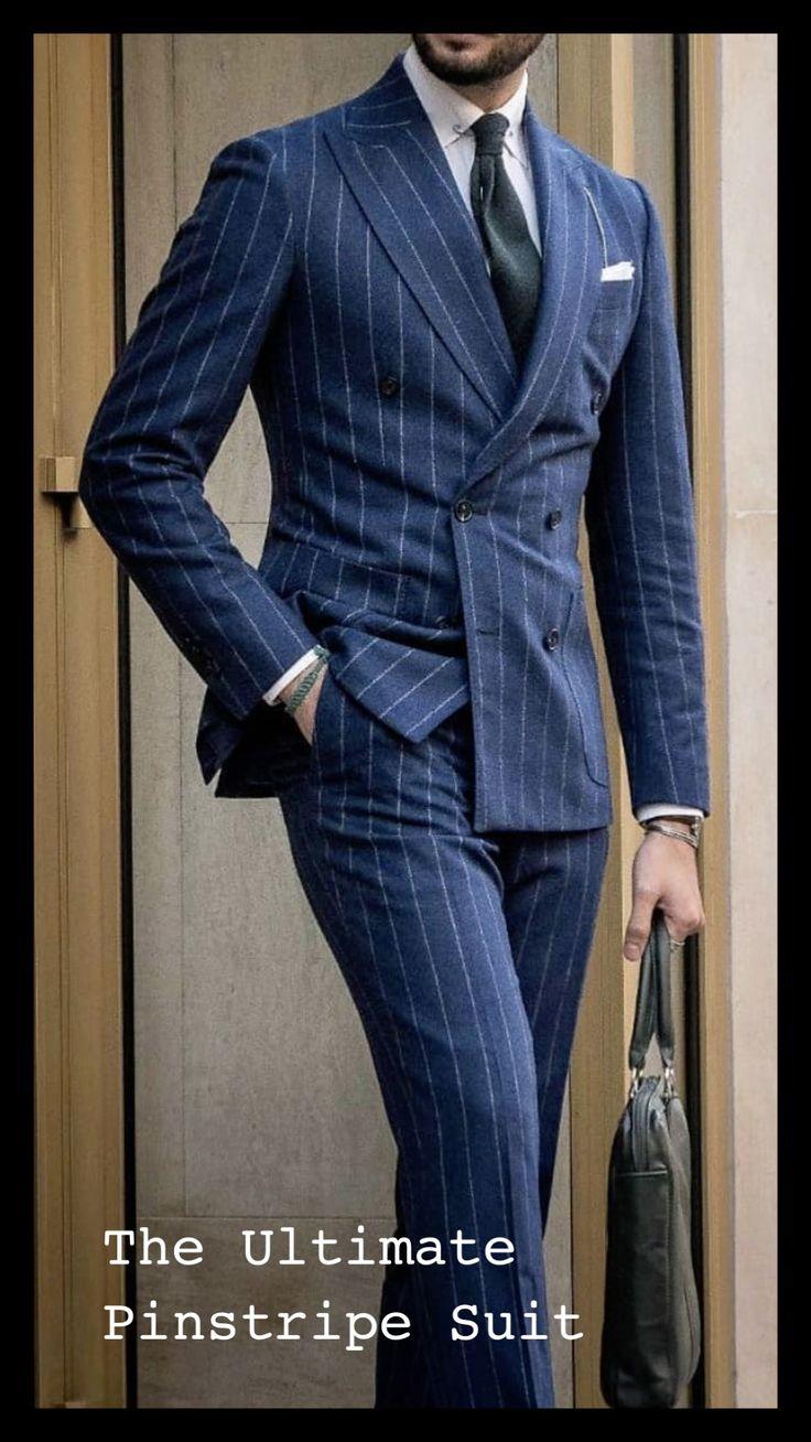 Bespoke Suit, Bespoke Tailoring, Mens Fashion Suits, Fashion Menswear, Mens Suits, Blue Pinstripe Suit, Men's Business Outfits, Armani Suits, Suit Combinations