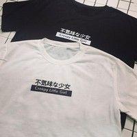 Wish   Harajuku Style Summer Women's Cute Top T-shirt Creepy Little Girl