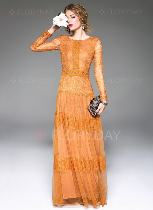 Dresses - $132.92 - Polyester Silk Solid Long Sleeve Maxi Elegant Dresses (1955108490)