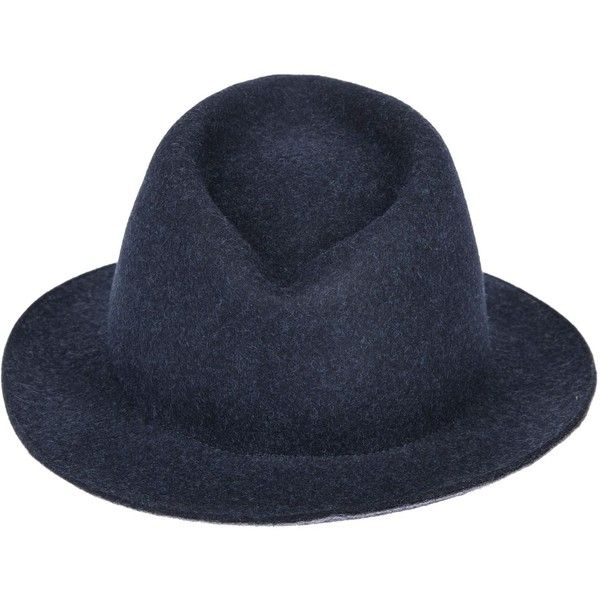Fedora Hat ($83) ❤ liked on Polyvore featuring men's fashion, men's accessories, men's hats, blue, mens blue fedora hat, mens wool fedora hats, mens wool hats and mens fedora hats