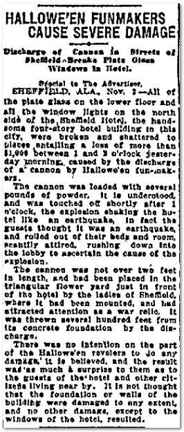 1913 Halloween Prank Caused a Blast in Sheffield, Alabama