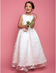 Flower Girl Dress Floor-length Lace A-line/Princess Sleevele... – USD $ 119.99
