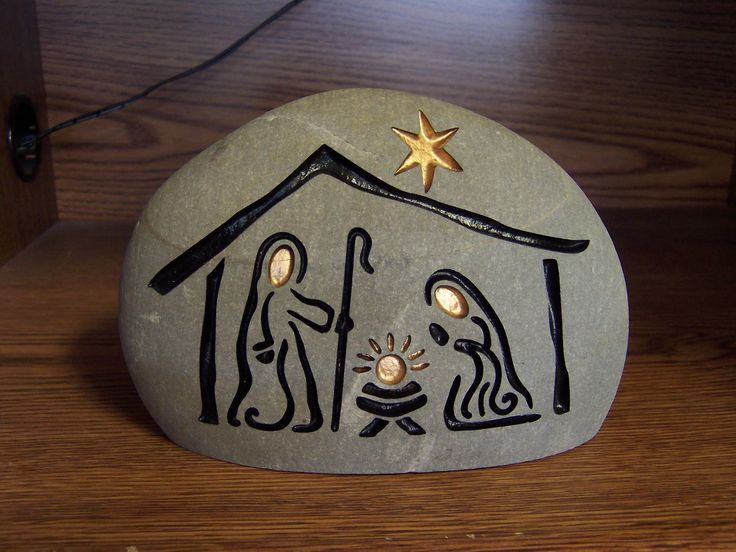 Hand Engraved Nativity Stone for Christmas decor and gifts