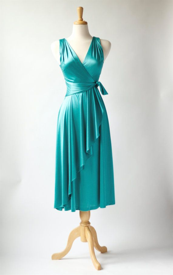 1970s vintage turquoise disco dress by roxandsam on Etsy