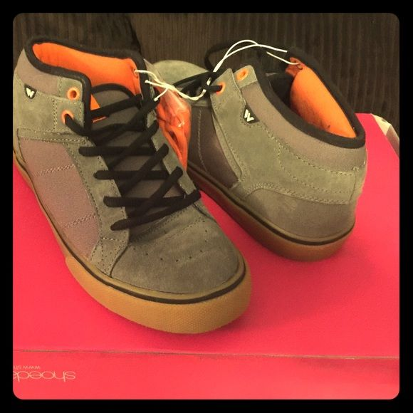 men's size 8 skaters style, semi-high top. size 8 men's skater style tennis shoes. Soft grey, with black laces and an extra orange pair. got for my son but he's growing like a weed. never been worn, not tried on. ! will take offers!!!!! thank you have a peaceful day!  Shoes Sneakers
