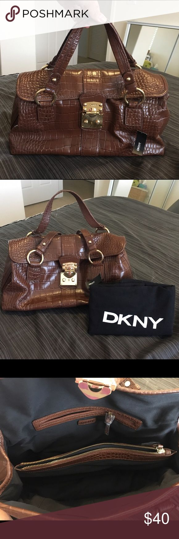 DKNY dark brown bag NWT DKNY dark brown faux croc handbag with dust bag. DKNY Bags