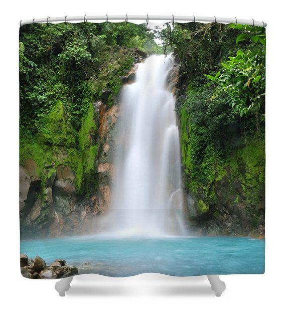 waterfall shower curtain nature wildlife by