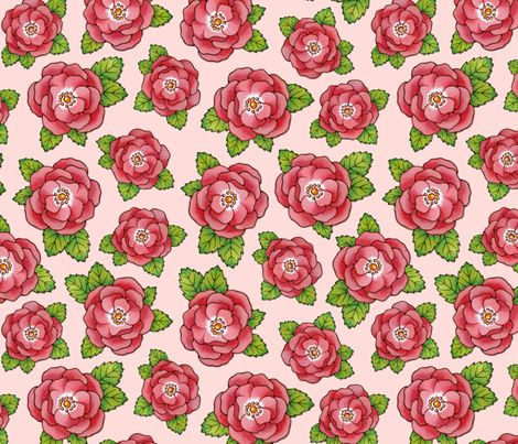 Alpen rose large scale flowers fabric wallpaper wall - Big rose flower wallpaper ...