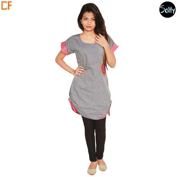 Grey short kurti in cotton material. Opt for cotton as it is a natural product and has many advantages, such as, it's ability to control moisture, insulate, weatherproof and a durable fabric. The kurti has a U-shaped neckline, half sleeves, with a vented hemline and upturned hem. Embroidery work on the left side on the front panel. Take a Look>> http://www.droomfashion.com/shop/brands/solty-grey-short-kurti/