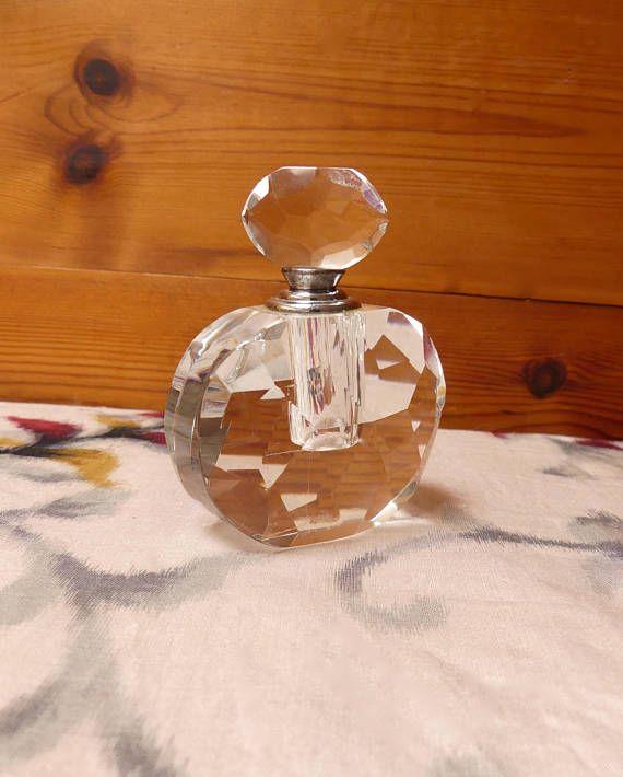 Vintage Mid century Clear Cut Glass Medium Perfume Bottle