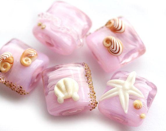 pink beachy lampwork beads handmade glass pillow by mayahoney