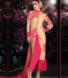 Buy Gold georgette embroidered semi  stitched salawr with dupatta party-wear-salwar-kameez online