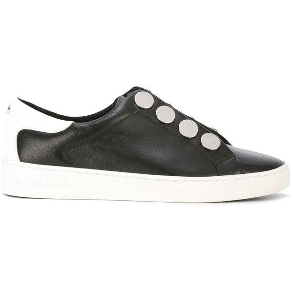 Michael Kors - studded sneakers - women - Cotton/Leather/rubber - 8.5 (3,020 MXN) ❤ liked on Polyvore featuring shoes, sneakers, black, black studded shoes, black trainers, studded sneakers, black leather trainers and leather trainers