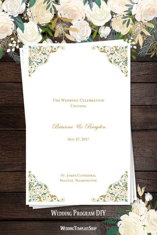 Wedding Program DIY, Clover Green & Gold Isabella Printable Templates.