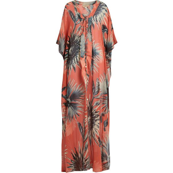 Adriana Degreas Floral-print lace-up silk maxi dress ($740) ❤ liked on Polyvore featuring dresses, coral and adriana degreas