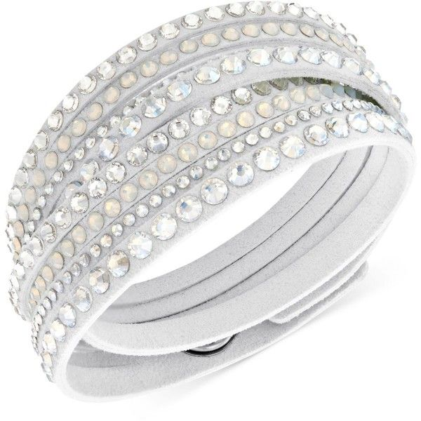 Swarovski Slake Deluxe Crystal Stud Wrap Bracelet (£44) ❤ liked on Polyvore featuring jewelry, bracelets, accessories, white, wrap bracelet, swarovski bangle, bracelet bangle, white bracelet and white jewelry