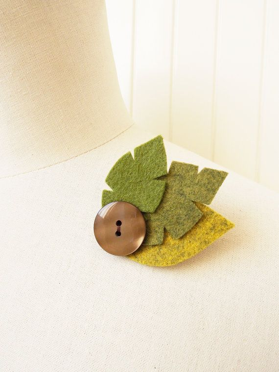 Felt Leaf Brooch Hand Cut and Hand Sewn Autumn by thefeltboutique, £6.00