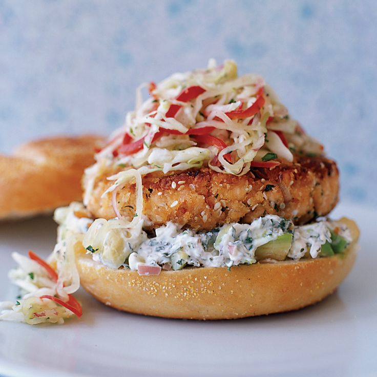 Pan-Fried Salmon Burgers with Cabbage Slaw and Avocado Aioli | Food & Wine