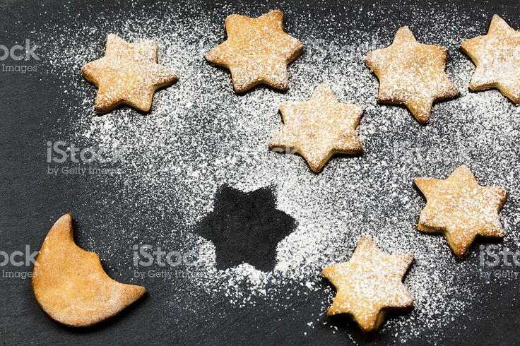stars cookies over slate simulate starry sky with moon foto stock royalty-free