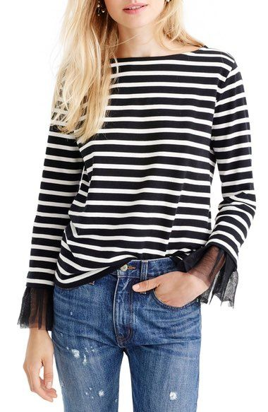 J. Crew Tulle Cuff Stripe T-Shirt available at #Nordstrom