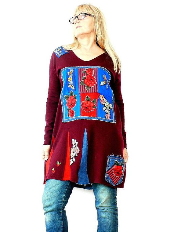 Fantasy embriodidery patchwork dress tunik.Made from recycled clothing.Remade,reused, up cycled.Unique desing.Folk hippie boho.Gypsy art soul.One of a kind. Size;L (european 40) Bust line max44 inches(112 cm) Hips line max 42 inches (107 cm) Lenght is abaut 35 inches (89 cm) Hand wash.