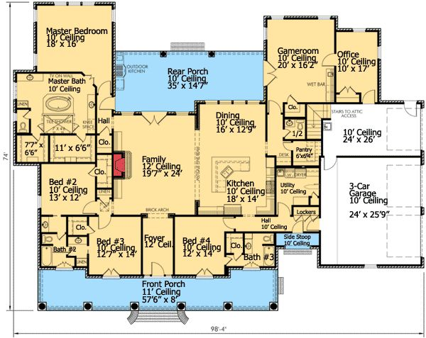 Plan 56360sm french country plantation butler pantry for Home plans with butlers pantry