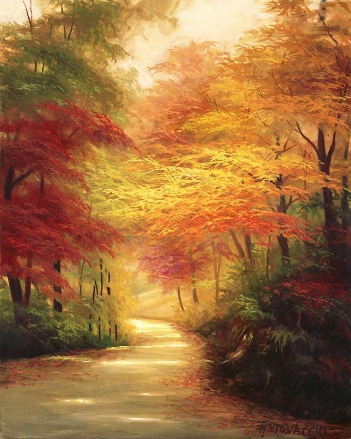 15.1 в своих картинах использовала бы теплые оттенки, как бы обволакивающее тебя изнутри...использовала бы смещение красок, но не больше 3 оттенков.