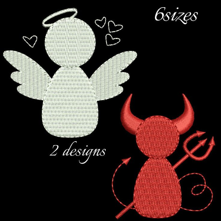 Angel and devil machine embroidery design set,Devil embroidery pattern,Christmas design,digital download,pattern,set design by GretaembroideryShop on Etsy