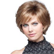 Maysu elegante marrón claro Perma corto pelucas para mujeres inclinado explosión suave y sedoso Multi-Layered peluca barato Clearance Sales envío gratis(China (Mainland))