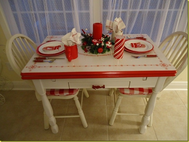 Red White Enamelware Table And Accessories Soooooo