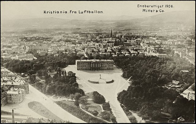 The Royal Palace in Oslo, 1906 by National Library of Norway (Kristiana,Norway, from a balloon)