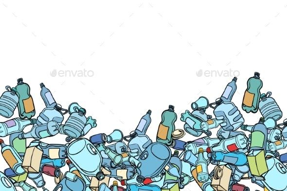 Plastic Trash Ecology And Pollution Ilustrasi Ilustrator Sketsa