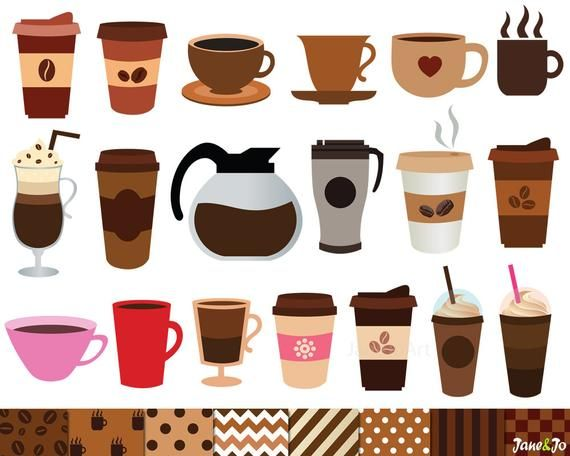 40 Coffee Clipart And 8 Digital Papers Coffee Clip Art Coffe Cup