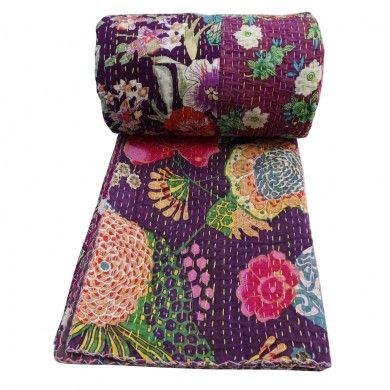 Floral Print Purple Kantha Style Quilt Traditional Gudri Queen Size Bedspread