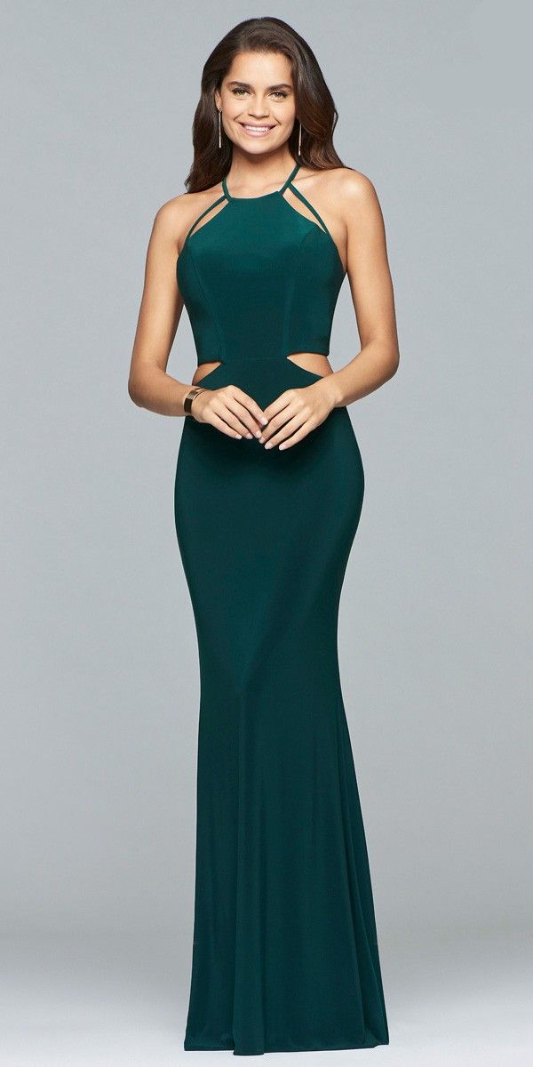 Long Cut Out Dress With Back Straps 10014 Colors Evergreen Black