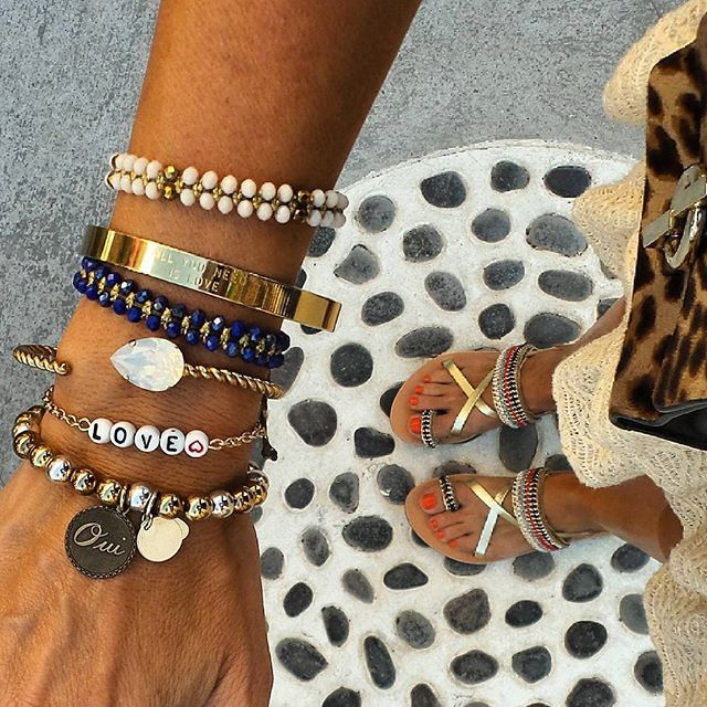 Mix of the day! @mylifelikes.gr sandals @_pinkdeer @junejewellery @didadi_ @spellonme @carolinesvedbom bracelets