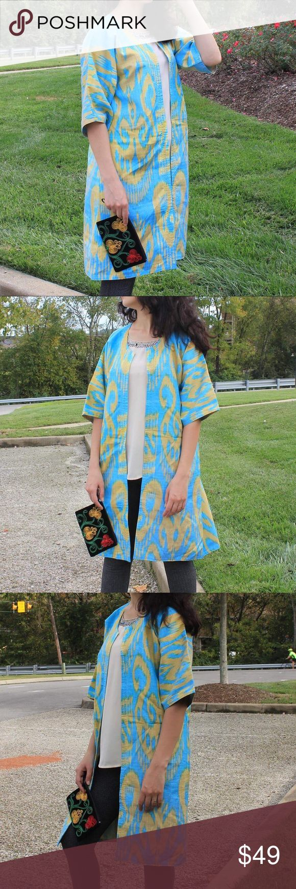 Blue Kimono Aztec print cardigan! Ikat Silk Chapan New! No tags! Green Cardigan! ikat Jackets & Coats Trench Coats