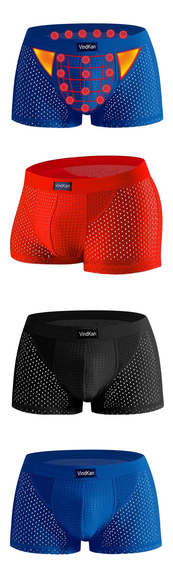US$10.99 + Free shipping. Men's mesh underwear, magnet antibacterial modal u convex pouch breathable boxers underwear.