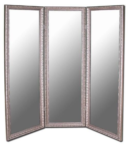 Antique Silver Full Length Free Standing Tri-Fold Mirror- 66W x 70H in. - Smart style in a sophisticated piece, the Antique Silver Mirrored Room Divider - 66W x 70H in. offers the privacy of a screen and the dimension...