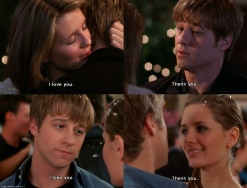 """I love you"" - ""Thank you!"" ~ Ryan and Marissa. The OC, season 1, #14: The Countdown."