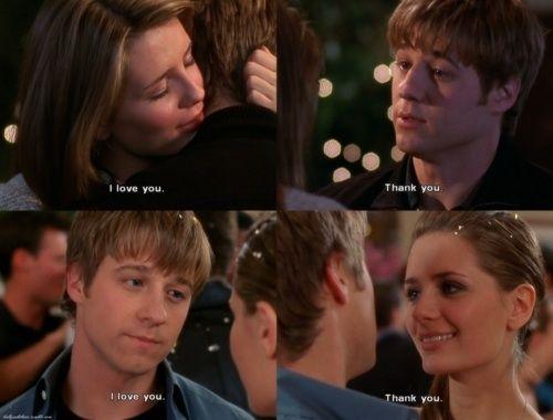 """I love you"" - ""Thank you!"" ~ Ryan and Marissa. The OC, season 1, #14: The Countdown."