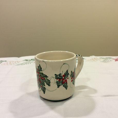 Tazza Mug in ceramica Natalizia con decorazione Agrifoglio