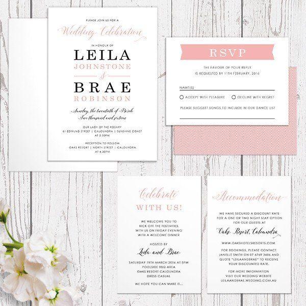 coral pink modern script and chevron wedding invitations monogram invites peach perfect australia