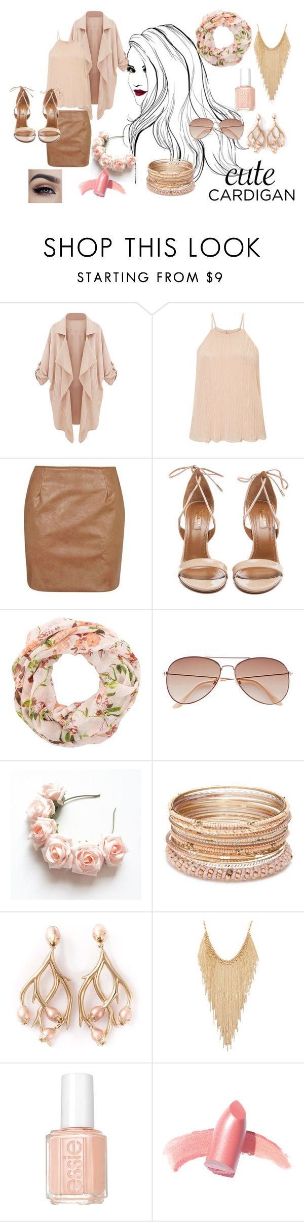 """""""Spring Cardigan Fashion"""" by abbi-alister ❤ liked on Polyvore featuring Miss Selfridge, Topshop, Aquazzura, New Look, H&M, Red Camel, Shaun Leane, Forever 21, Essie and Elizabeth Arden"""