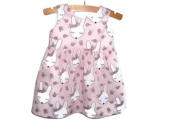 Girls Easter dress  dress with rabbits  dress with bunnies