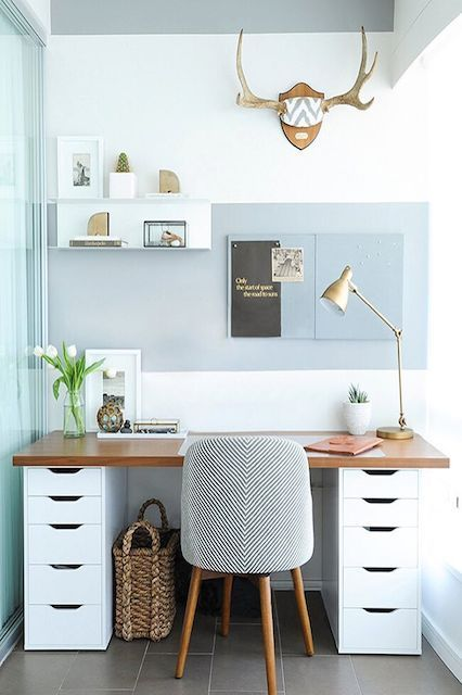 """13 Desk Situations That Will Make You Blow Off Summer Fridays #refinery29 http://www.refinery29.com/desk-inspiration#slide-10 If the key to office tranquility is to keep things running smoothly, perhaps a streamlined workspace is really all you need to stay sane. A soft-but-sleek setup — speckled with<a href=""""http:/..."""
